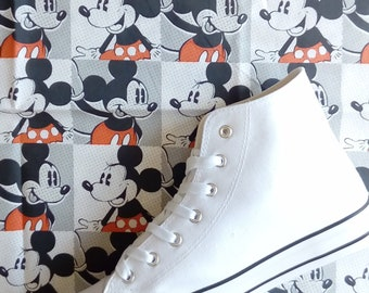 6b2a4cabb0d7 BE THE FIRST to have Canvas Shoes Hand Customised with Mickey and Minnie  Mouse Fabric.