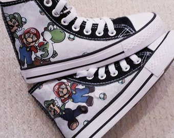 5a84ad258d Canvas Shoe Hand Customised with Super Mario