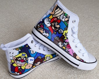 88f43eaeb5b Hi Top Canvas Shoe Hand Customised with Super Mario Multicharacters