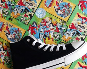 85d5ed9a390368 BE THE FIRST to have Canvas Shoes Hand Customised with Multi Character Dc  Comic Cartoon Fabric.