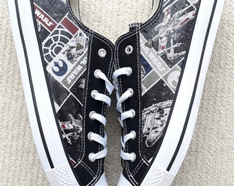 8af992a040674 Canvas Shoes Hand Customised with Star Wars Rebel Ships III | Etsy
