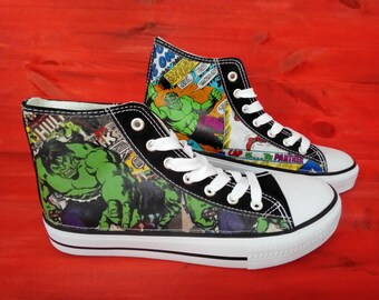 Hand Customised with Banana Fabric Fabric designed by Adehoidar. Canvas Shoes Trainers Kids to Adults