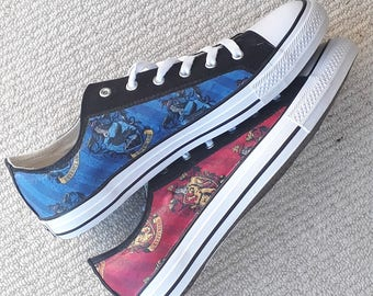 9cc2fcc2e696 Canvas Shoes Hand Customised with Harry Potter Multi House Fabrics