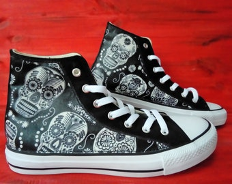 Hand Customised with Rose Skull Tattoo Fabric Red and Black Kids to Adults Halloween, Canvas Shoes Trainers