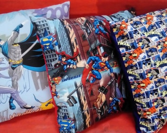Cushions, 50cm x 50cm, hand made with DC Batman and Superman Fabrics