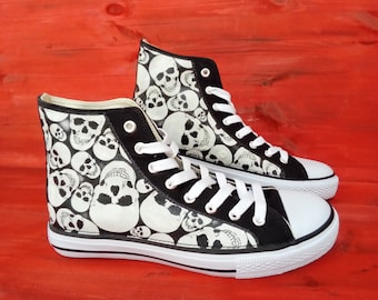 Canvas Shoe Trainers, Kids to Adults, Hand Customised with Glow In The Dark Skull Faces, Halloween Fabric.