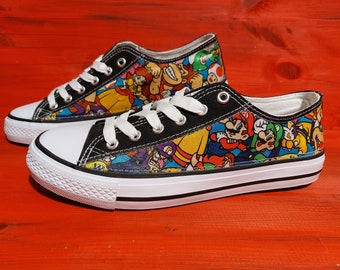 Canvas Shoe Trainers, Kids to Adults, Hand Customised with Super Mario Multi Characters, Multicoloured Fabric