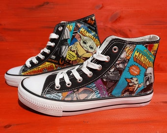 Canvas Shoes Trainers, Kids to Adults, Customised with Star Wars Mandalorian and Baby Yoda Grogu Fabric.