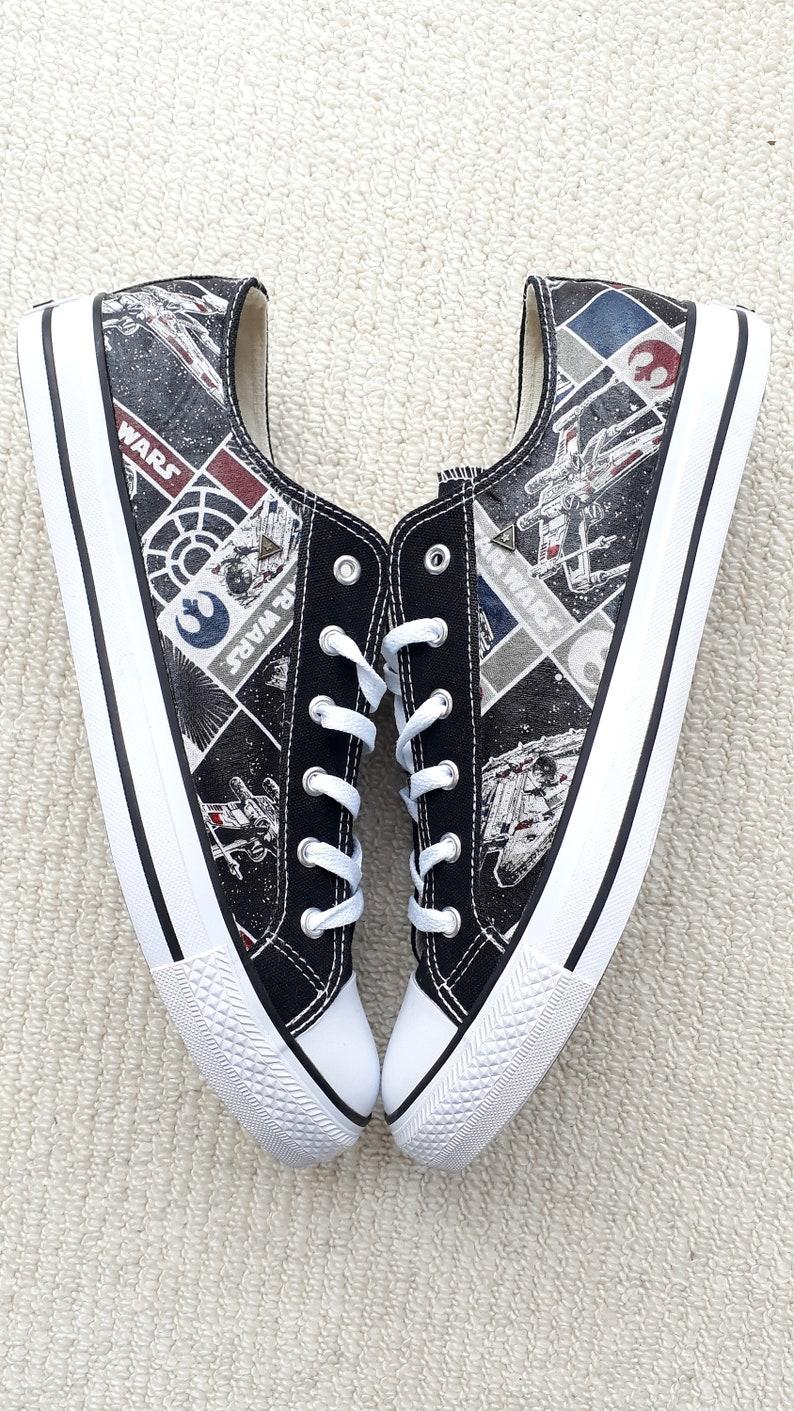 9904ca9bb532c Canvas Shoes Hand Customised with Star Wars III Rebel Ships Fabric-  Millennium Falcon/ Death Star/ Spaceship Cartoon Strip .