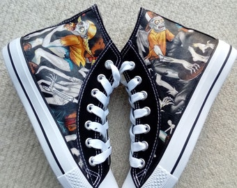 Canvas Shoes Trainers, Adults, Hand Customised with Zombie Walking Dead Part Skeleton Characters, Halloween Fabric.