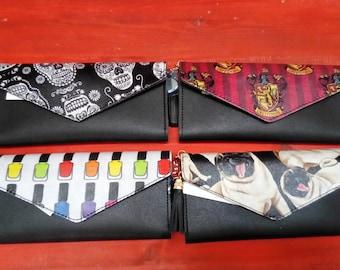Women's Wallets hand customised with Gryffindor, Pug, Sugar Skulls and Nail Varnish fabrics.