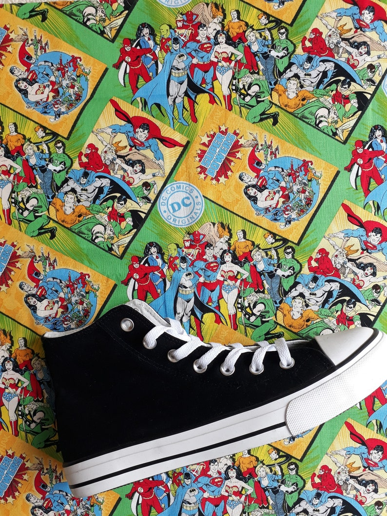 Hand Customised with Multi Character Dc Comic Cartoon Fabric. BE THE FIRST to have Canvas Shoes Trainers Kids to Adults