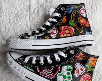 Canvas Shoes Trainers, Kids to Adults, Hand Customised with Skulls and Skeletons Mexican Inspired Day of the Dead, Halloween Fabric.