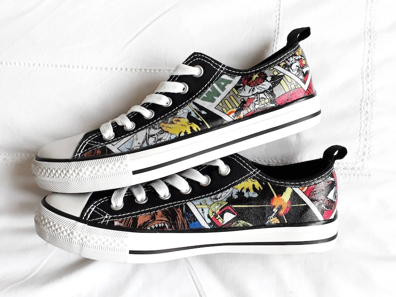 1b6b15acadd1a Canvas Shoes Hand Customised with Star Wars Cartoon Comic Strip,  Multicoloured, Multi-Character Fabric.