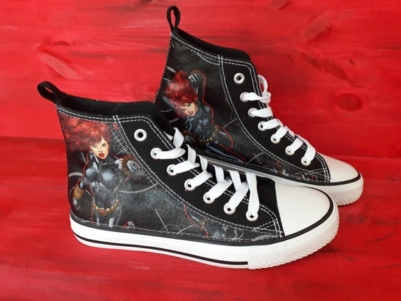 Canvas Shoes Trainers, Kids to Adults, Hand Customised with Marvel Black Widow Fabric.