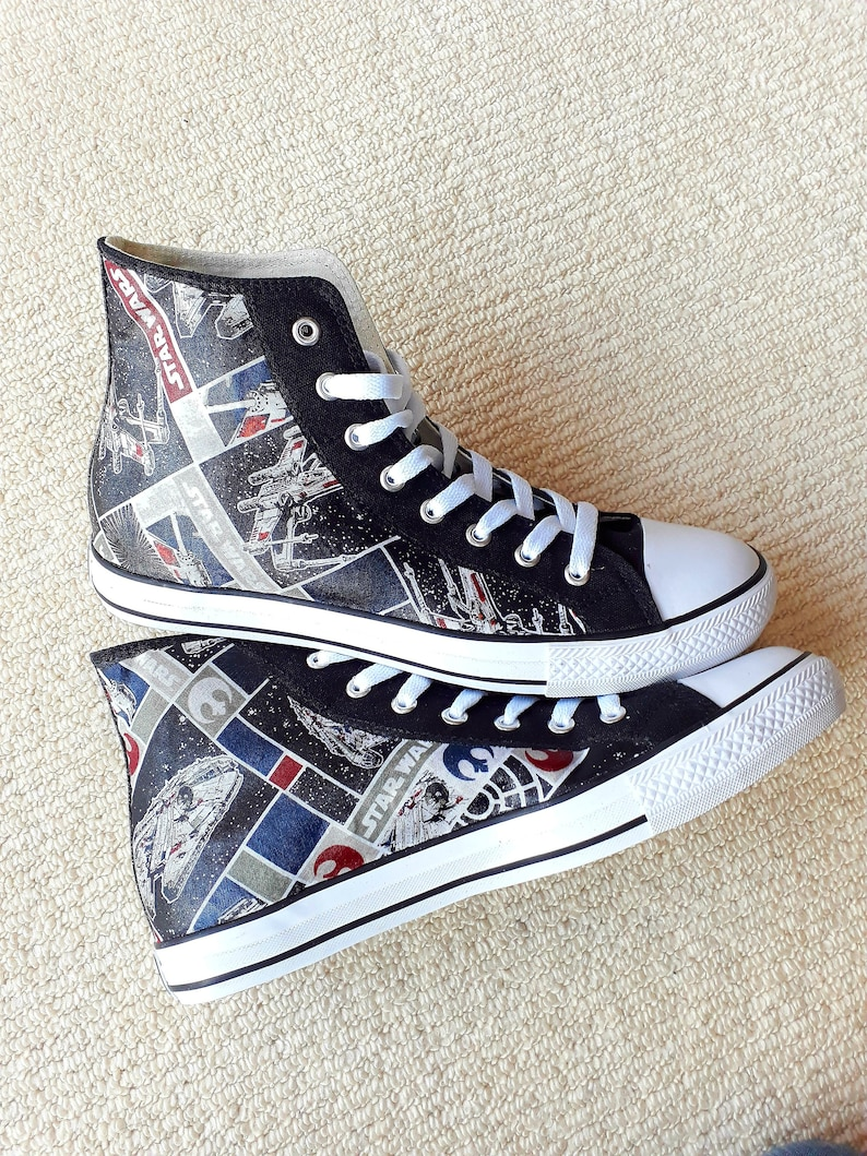 c1e76b63ae2c7 Canvas Shoes Hand Customised with Star Wars Rebel Ships III Fabric.