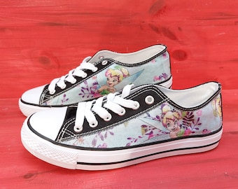 Canvas Shoes Trainers, Kids to Adults,  Hand Customised with Disney Tinkerbell Character Fabric.