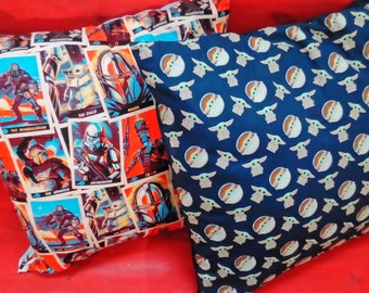 Cushions, 50cm x 50cm, hand made with Star Wars Mandalorian Cards or Baby Yoda Grogu Fabric.