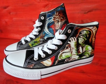 Canvas Shoes Trainers,Kids to Adults, Hand Customised with Horror Movies, The Fright, Count Dracula, Weir Wolf, Mummy, Frankenstein, Fabric.