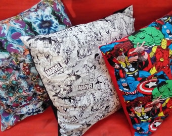 Cushions, 50cm x 50cm, hand made with Marvel Fabrics