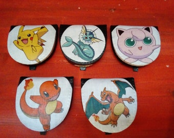 Real Leather Coin Purses hand customised with Pokemon Character Fabric.