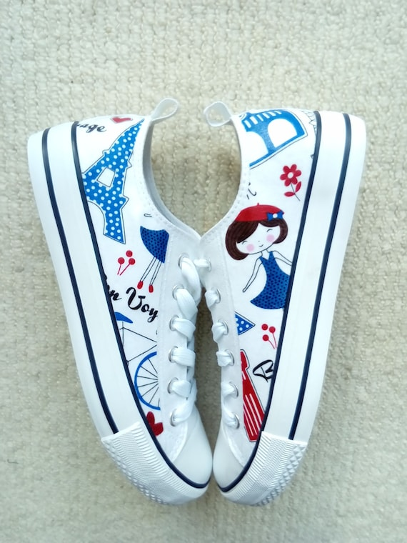 61b6c33f6514 Canvas Shoes Hand Customised with Patriotic Paris Themed