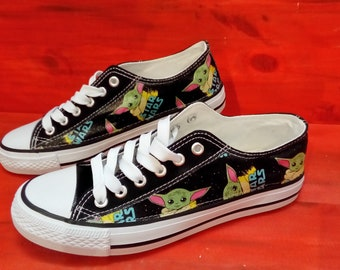 Canvas Shoes Trainers, Kids to Adults, Customised with Star Wars Mandalorian Baby Yoda Grogu Fabric.