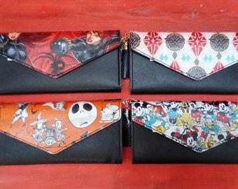 Women's Wallets hand customised with Wonder Woman, Black Widow, Mickey Mouse and Nightmare Before Christmas Fabric.