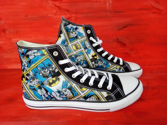 Canvas Shoes Trainers, Kids to Adults, Hand Customised with Bat Man DC Comic Cartoon Squares Fabric, Bright Blue and Yellow.