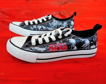 Canvas Shoes Trainers, Kids to Adults, Hand Customised with Walking Dead Zombies Fabric.