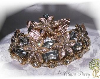 Wedding Tiara Gold. (Athena)  Gold plated Grecian Diamanté Tiara.