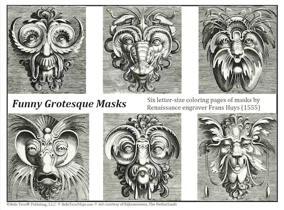 Funny Grotesque Masks Coloring Pages. Digital Download. Set of 6 bizarre  engravings by Renaissance Flemish master.