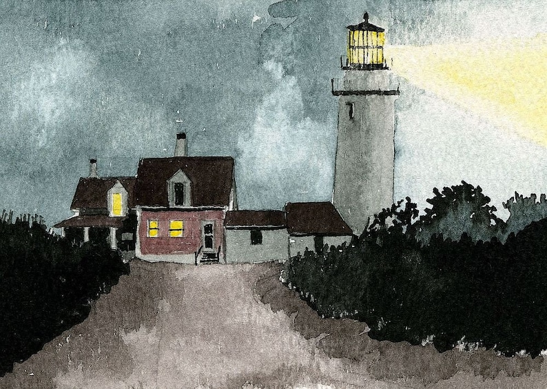 Cape Cod Highland Lighthouse at Night, North Truro, Mass  Light shining in  foggy landscape  Peter M  Mason watercolor prints & notecards