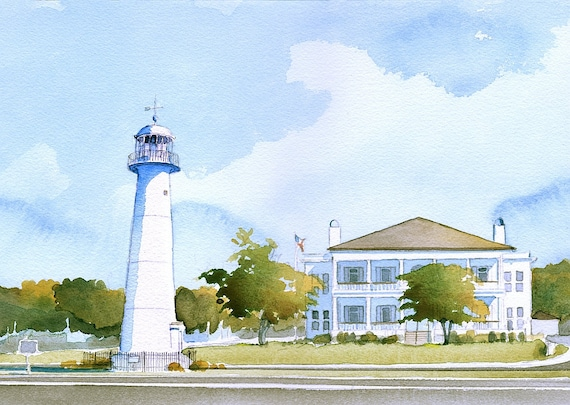 Biloxi Lighthouse Visitors Center Mississippi Gulf Coast Etsy