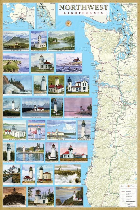 California /& Hawaii Lighthouses Illustrated Map Poster Laminated No Glare 24x36
