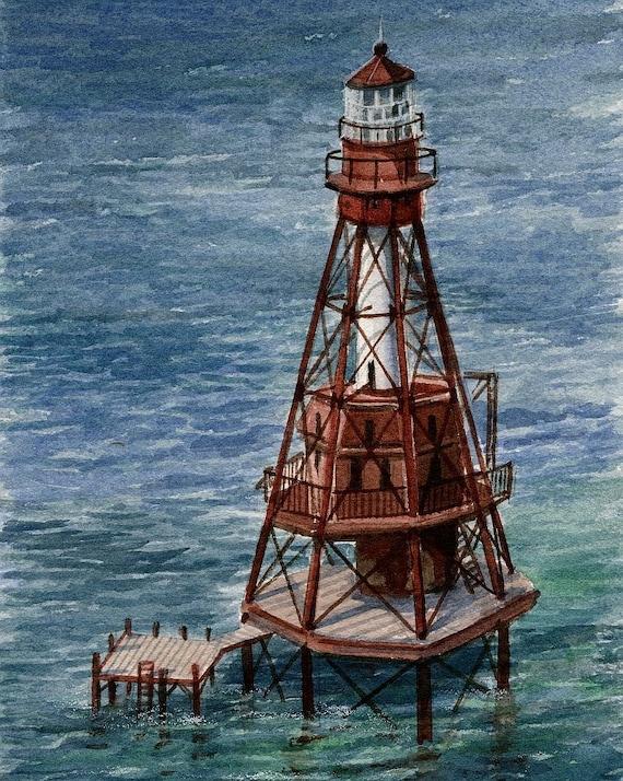 Florida Keys Gerald Hill Watercolor Art Prints American Shoal Lighthouse