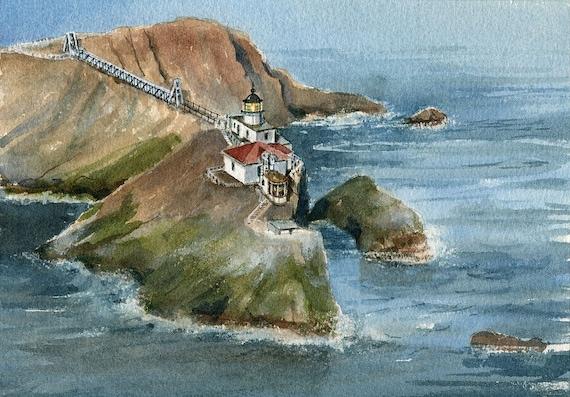 California Gerald Hill Art Notecards Marin Headlands Point Bonita Lighthouse