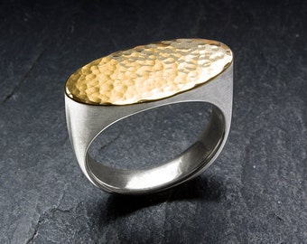 Elegant silver signet ring with hammered  18 k gold surface. Handmade goldsmith work. Men, women.