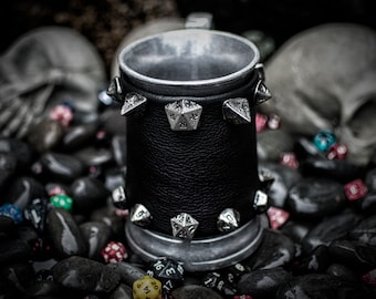 DND inspired Metal Tankard  Wrapped with  Leather Band