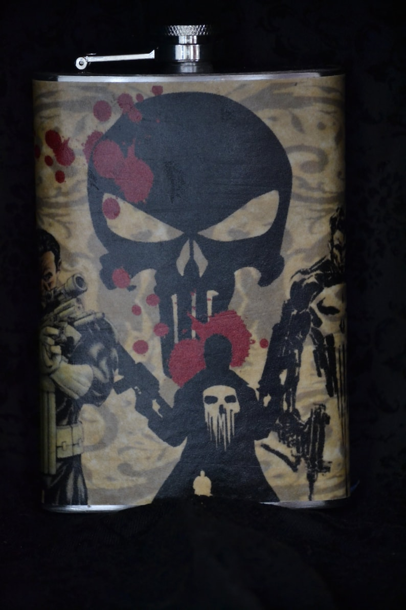 Stainless Steel Comic Book Flask  8 oz  The Punisher or The image 0