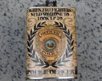 Police, Firefighter,EMT, Nurse, Chriopractor.- 8oz Stainless Steel Flask