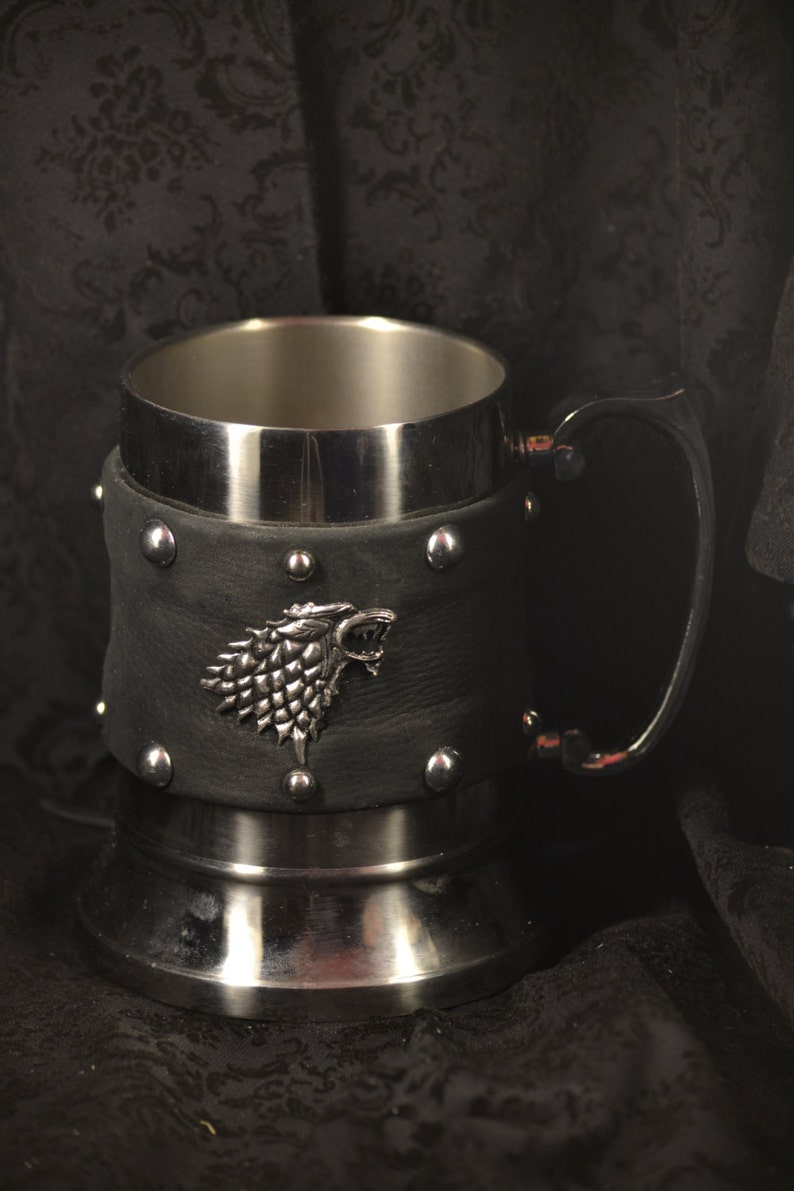 Game of Thrones Stainless Steel Tankard Wrapped in Leather image 0