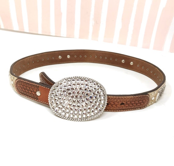 Western leather Belt Rhinestone Buckle and Silver