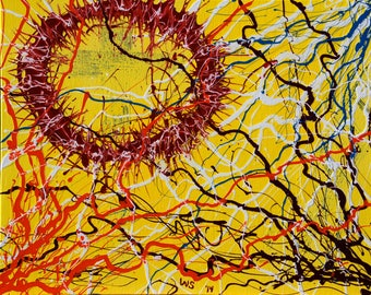 """Original Abstract Art Painting: No. 19 By Wayne Smaridge Thorns & Lightning Color 20"""" by 16"""" Yellow Background Acrylic On Canvas Fine Art"""