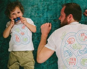 Dad and Baby Matching Shirts, Car Play Mat Shirts, Daddy Gift from Toddler, Gift for Him, Dad and Son Shirts, Car Track, Fathers Day