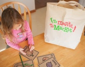 Kids Tote Bag, Grocery Bag, Farmers Market Bag, Extra Large Canvas Tote, Shopping Bag, Play Food, Fabric Vegetables