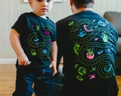 Dad and Baby Matching Shirts, Space Shirts, Matching Shirts and Onesies, Car Play Mat Shirts Dad and Son Outer Space Birthday Roads on Back