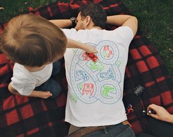 L, Car Play Mat Shirt, Dad Gift from Kids, Dad Shirt, Father's Day, Quarantine Shirt, Road Map Shirt, Father Son Shirt, Daddy Gift From Son