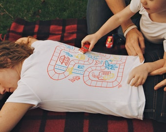 2XL, Play Mat Shirt for Mom, Mom of Boys Shirt, Back Rub Shirt, Mommy and Me, Car Shirt, Road on Back, Train Tracks, Mother's Day