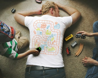 3XL - Dad's Train Shirt. Train Track Shirt. Play Mat Shirt. Quarantine Gift for Dad from Son. Back Scratcher. Father's Day Dad Shirt.